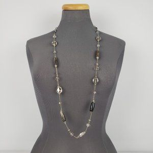 Grey & Silver Glass Beaded Necklace